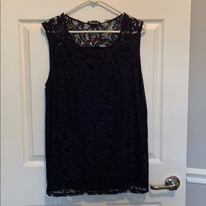 New black lace sleeveless blouse